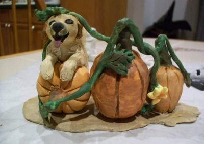 """Buster in the Pumpkin Patch"" Sculpty by Kim Blaney"